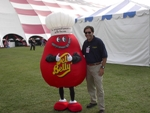 "Scott Frisch left of ""Jelly Bean' mascot"